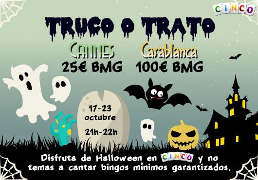 Disfruta de Halloween en Cinco con bingos mínimos garantizados de 25€ en Cannes y 100€ en Casablanca