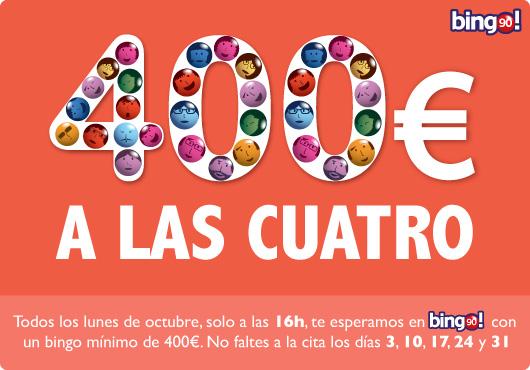 Cada lunes de octubre a las 16h: ¡hazte con un bingo mínimos garantizado de 400€!