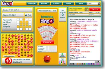 Cartón, figuras, chat y botes del bingo 75